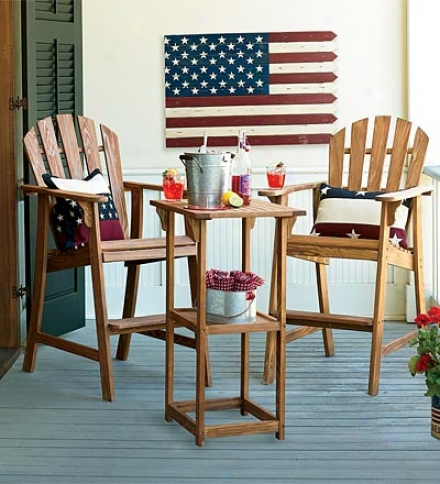 American Cypress Wood Adirondack-style Bar Chair