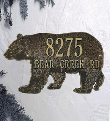 American-made Bear Silhouette Address Plaque In Cast Aluminum