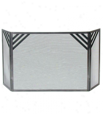 American-made Hammered-steel Chevron Fireplqce Screen