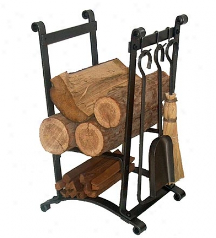 American-made Hammered Steel Compact Curved Log Rack With Tool Predetermined