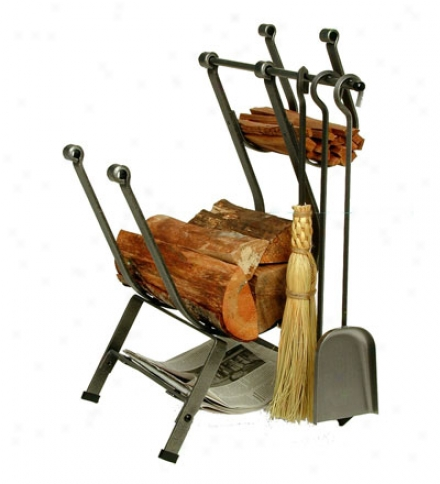 American-made Hammered Steel Front-loading Log Rack With Set Of 3 Toos