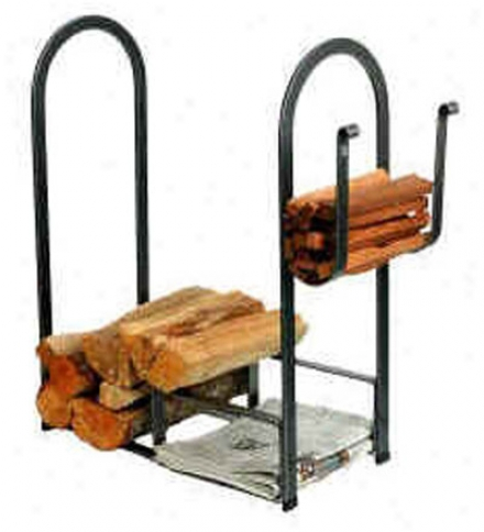 American-made Hammered Steel Large Fire Center Log Rack
