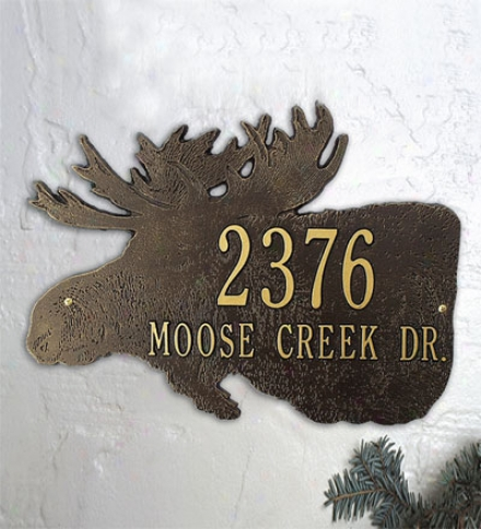 Americam-made Moose Silhouette Address Plaque In Cast Aluminum