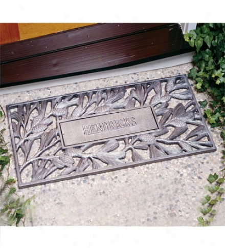 American-made Personalized Cast Aluminum Pine Cone Doormat
