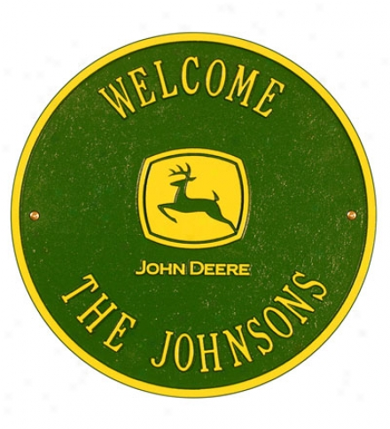 American-made Personalized John Deere Cast Welcome Sign In Cast Aluminum