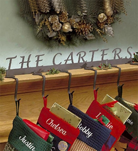 American-made Personalized Steel Stocking Holders