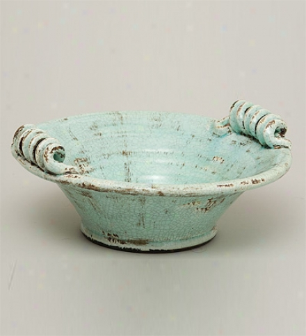 Antique Aqua Glazed Ceramic Bowl
