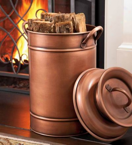 Antique Style Copper Finished Metal Milk Can