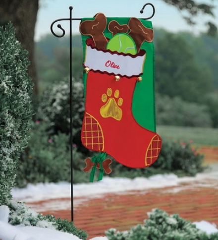Appliquéd Kitty Stocking Garden Flags