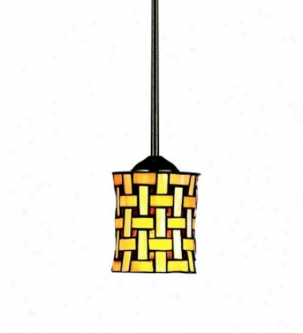 Art Glass Mini Pendant Light With Metal Framed Shade