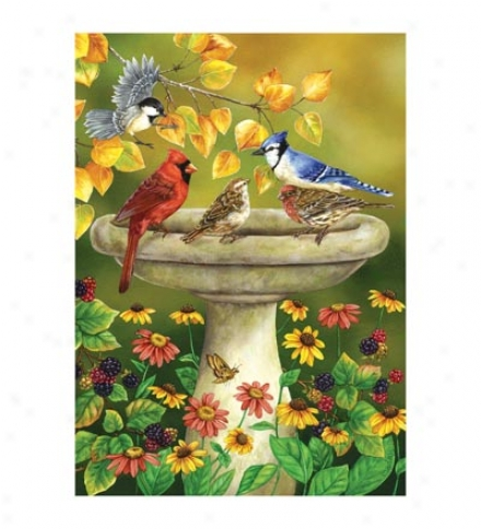 Autumn Birdbath Houuse Flag