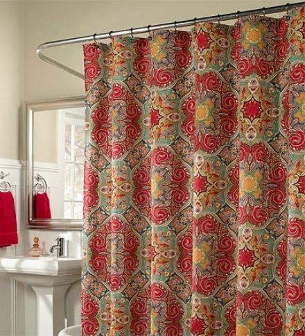 Baltic Ruby Ctpton Weave Shower Curtain
