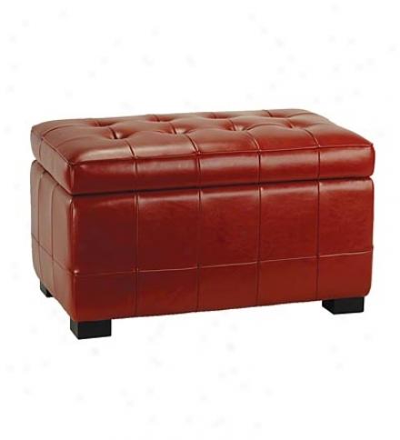 Bi-cast Leather Small Manhattan Storage Ottoman