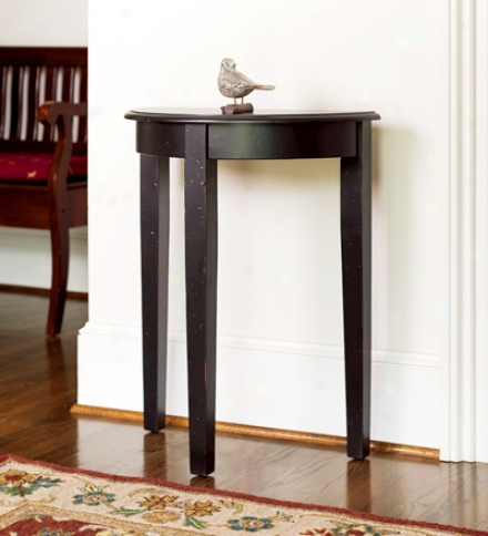 Birch Foyer Accent Table In Pecan Or Distressed Blac Finishes