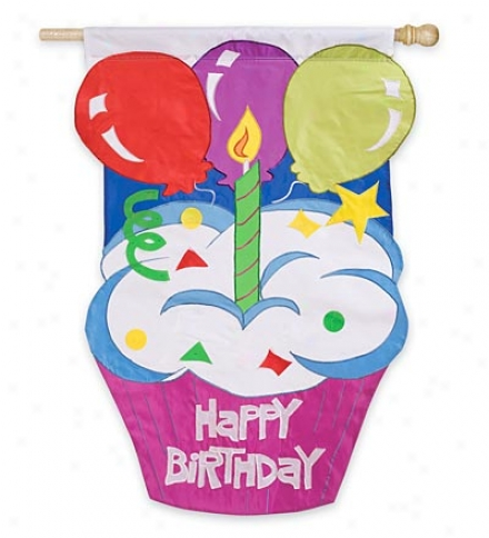 "Birthday Cupcake Flag 28""w X 44""l"
