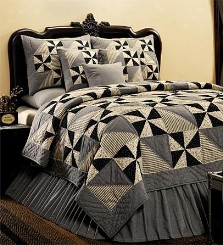 Black Pinwheel Quilted Pillow