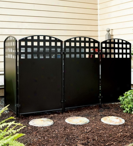 Black Powder-coated Steel Four-panel Privacy Screen
