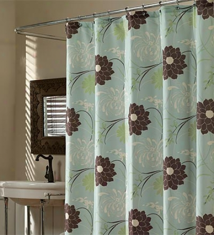 Blue Chrysanthemum Duck-weave Sjowef Curtain