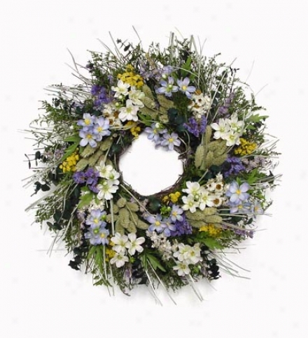 Blue Cosmo Wreath, 18&quot; Dia.