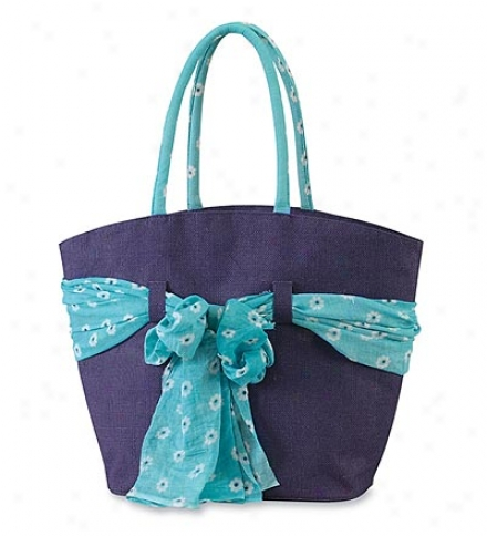 Blue Maria Jute Tote With Removable, Coordinating Scarf