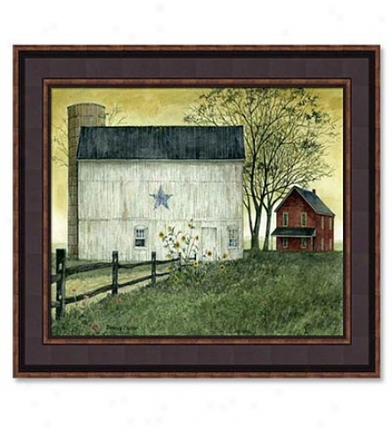 Blue Star Barn Print By Bonnie Fisher