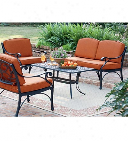 Bridgewater Cast Aluminum Outdoor Seating Set With Love Seat, 2 Chairs, Coffee Table And Cushions