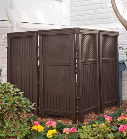 Brown Resin Four Panel Privacy Screen