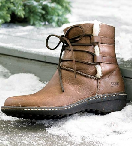 Brown Ugg?? Australia Women's Caspia Ankle Boots With Leather Wrap Ties