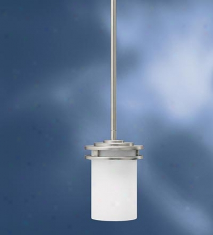 Brushed Nickel Mini Pendant Light With Satin-etched Cased Opal Glass Shaed