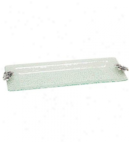 Bubble Glass Serving Platter With Metal Flower Handles