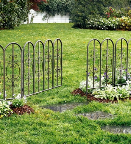"Burnished Bronze Finished Iron Montenello Garden Fencing With Gate72""l X 34""h"