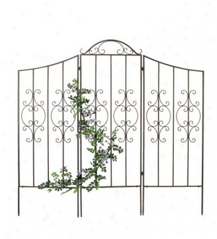 Burnished Bronze Finished Iron Montebello Trellis With Wings