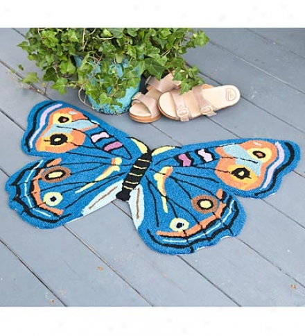 Butterfly Shaped Hand-hooked Washable Rug