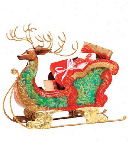 Capiz-encrusted Reindeer Sleigh Holiday Centerpiece