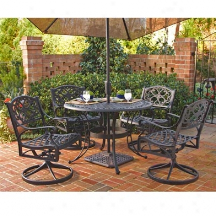 Cast Aluminum Dining Set, Table And Four Chairs