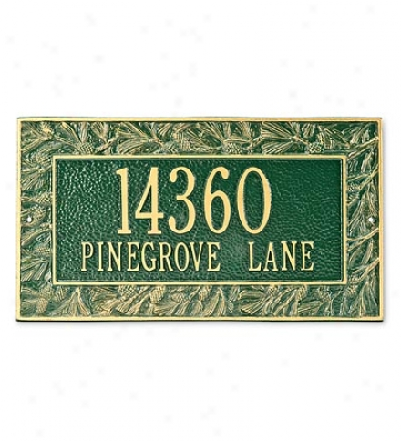 Cast Aluminum Pine Cone Address Laqn Plaque