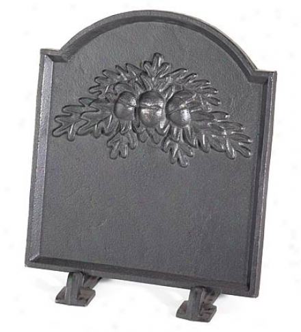 Cast Iron Fireback With Oak Leaf Design