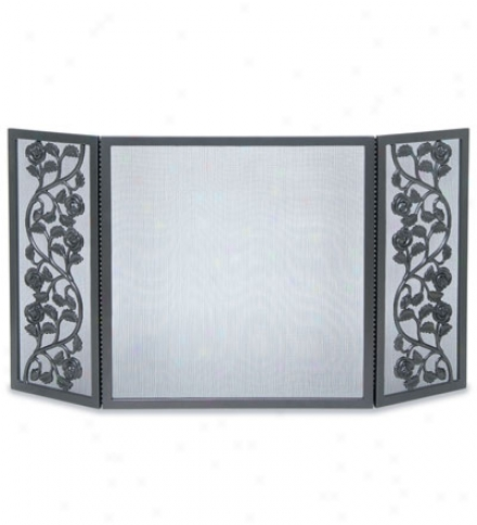Cast Rose Three-panel Fireplace Screen