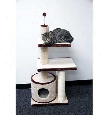 Cat 3-level Scratching Post And Kitty Condo With Sisal Fibers