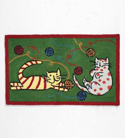 Cats Playing Poly Blend Accent Rug