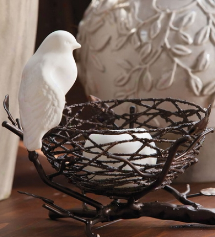 Ceramic And Metal Bird Nest Candle Holder