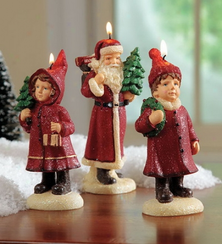 Charming Retro Christmas Candles, Set Of 3: Santa, Boy, Girl