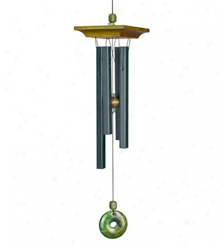 Cherry Wood And Aluminum Jade Wind Chime With Genuine Stone Accents