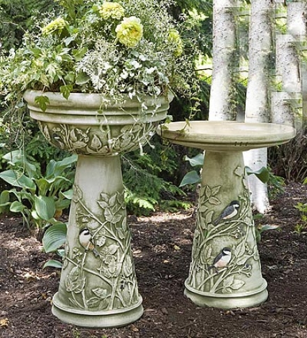 Chickadee Planter Bowl And Pedestal