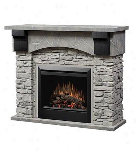 Chiseled Stone Electric Fireplace With 3d Flames
