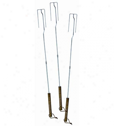Chrome-plated Steel Set Of 3 Bonfire Forks With Wooden Handles
