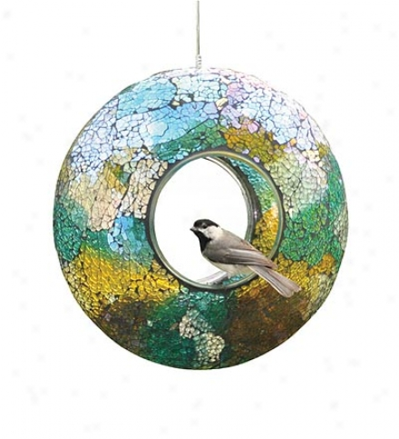 Circular Iridescent Crushed Glass Mosaic Bird Feeder