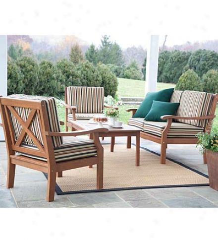 Claremont All-weather Eucalyptus X-back Patio Seating Set With Cushions