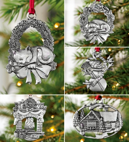 Classic Holliday Collection Set Of 5 Pewter Ornaments