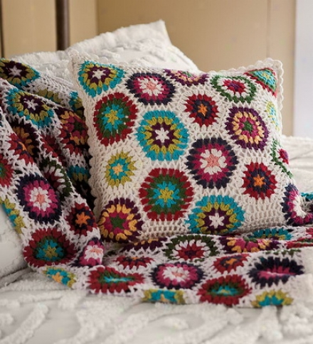 Colorful Hand-crocheted Cotton Throw